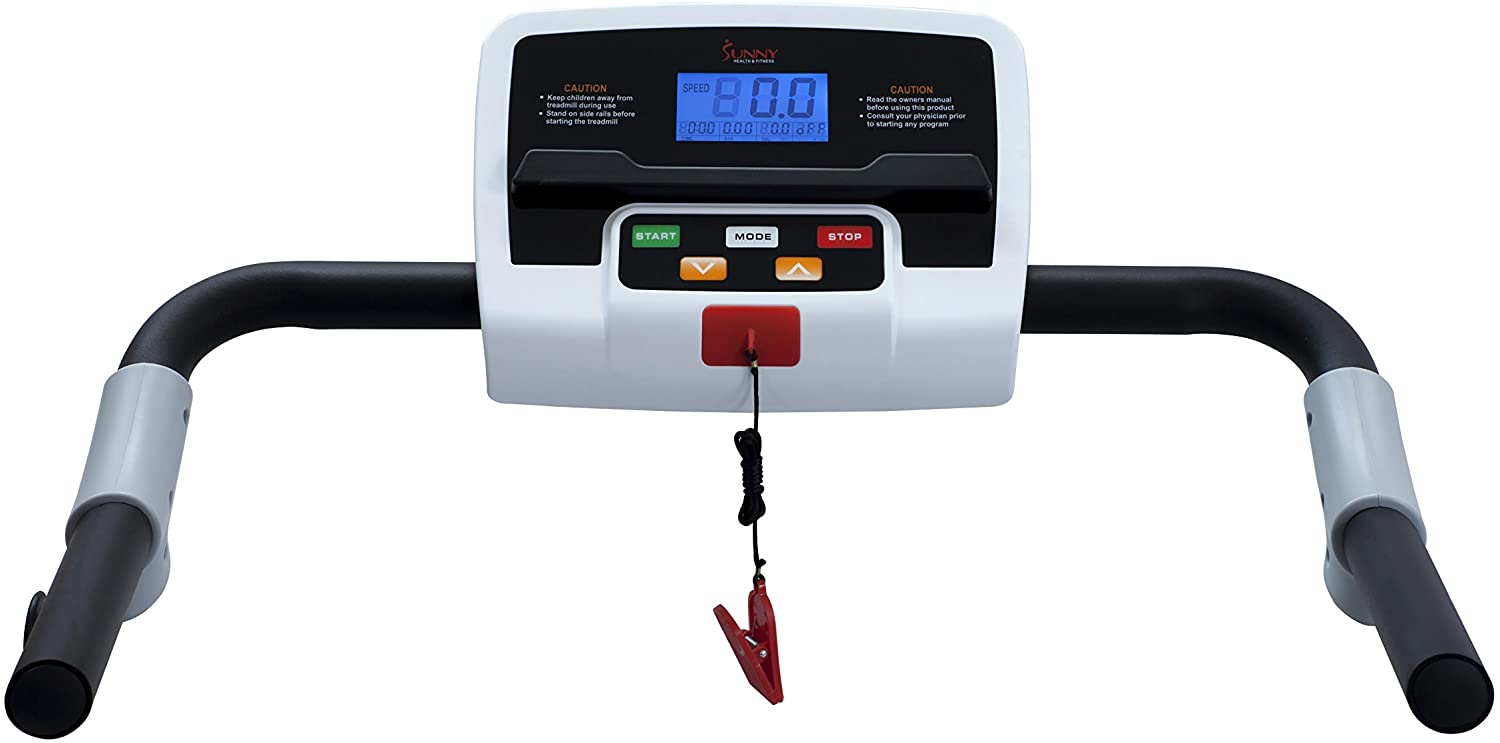 SF-T7610 Walking, Folding Treadmill by Sunny Health & Fitness Electric - with LCD Display and Device Holder