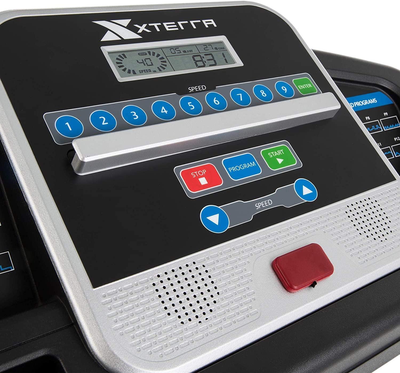 xterra fitness tr150 folding treadmill black console