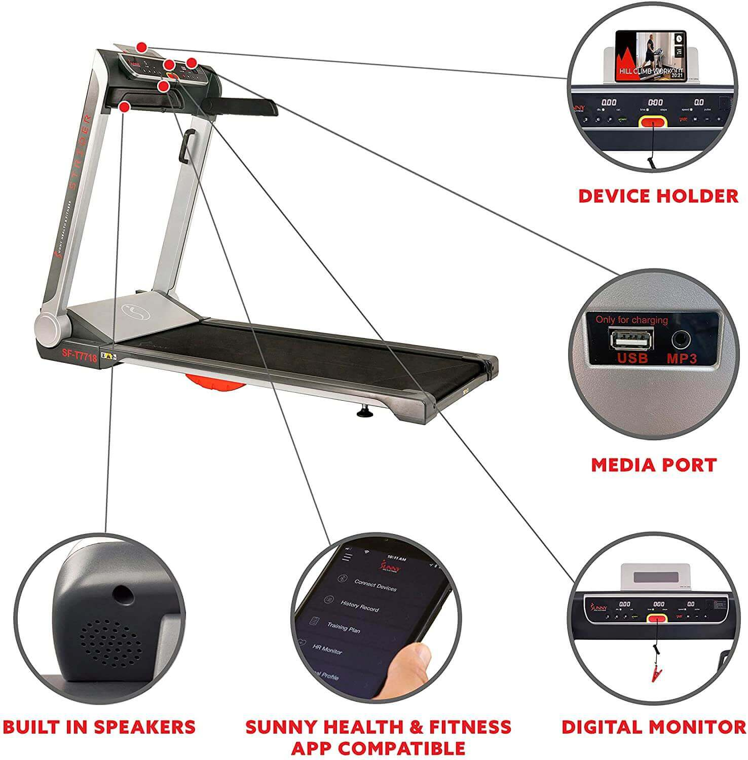 Sunny Health and Fitness Electric Slim Folding Running Treadmill functionality