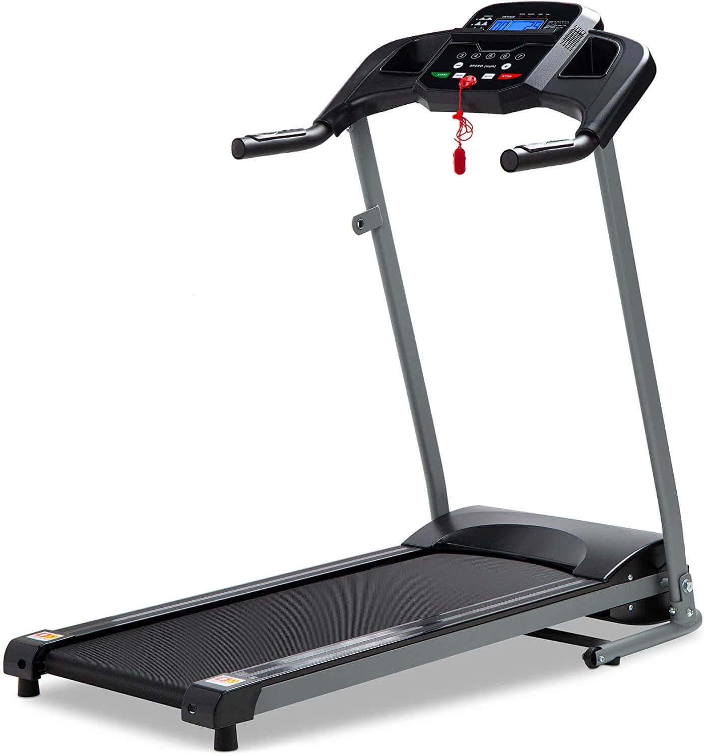 800W Folding Electric Treadmill, Motorized Exercise Machine w/Wheels, Safety Key, Heart Sensor