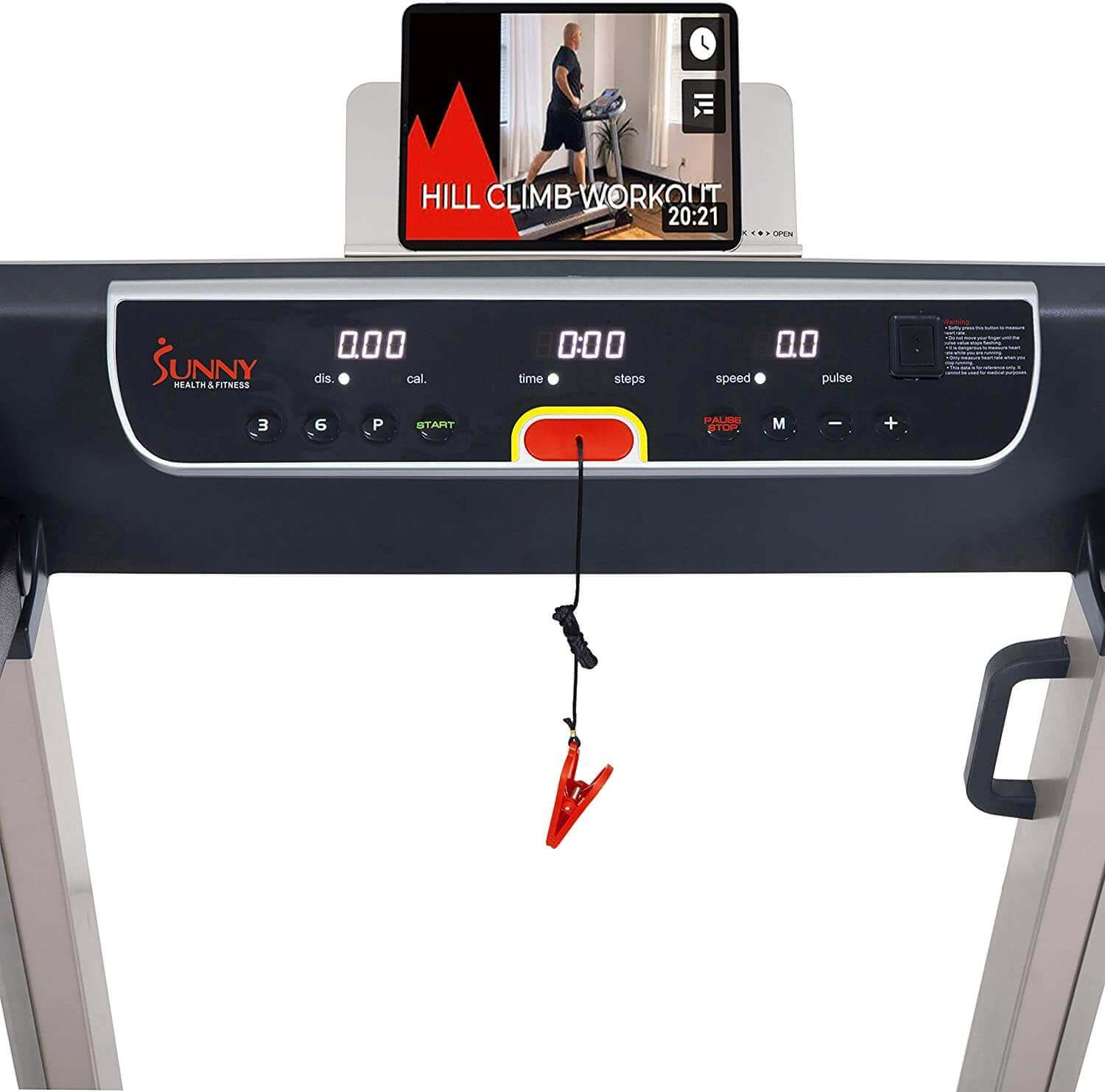 Sunny Health and Fitness Electric Slim Folding Running Treadmill Review Screen