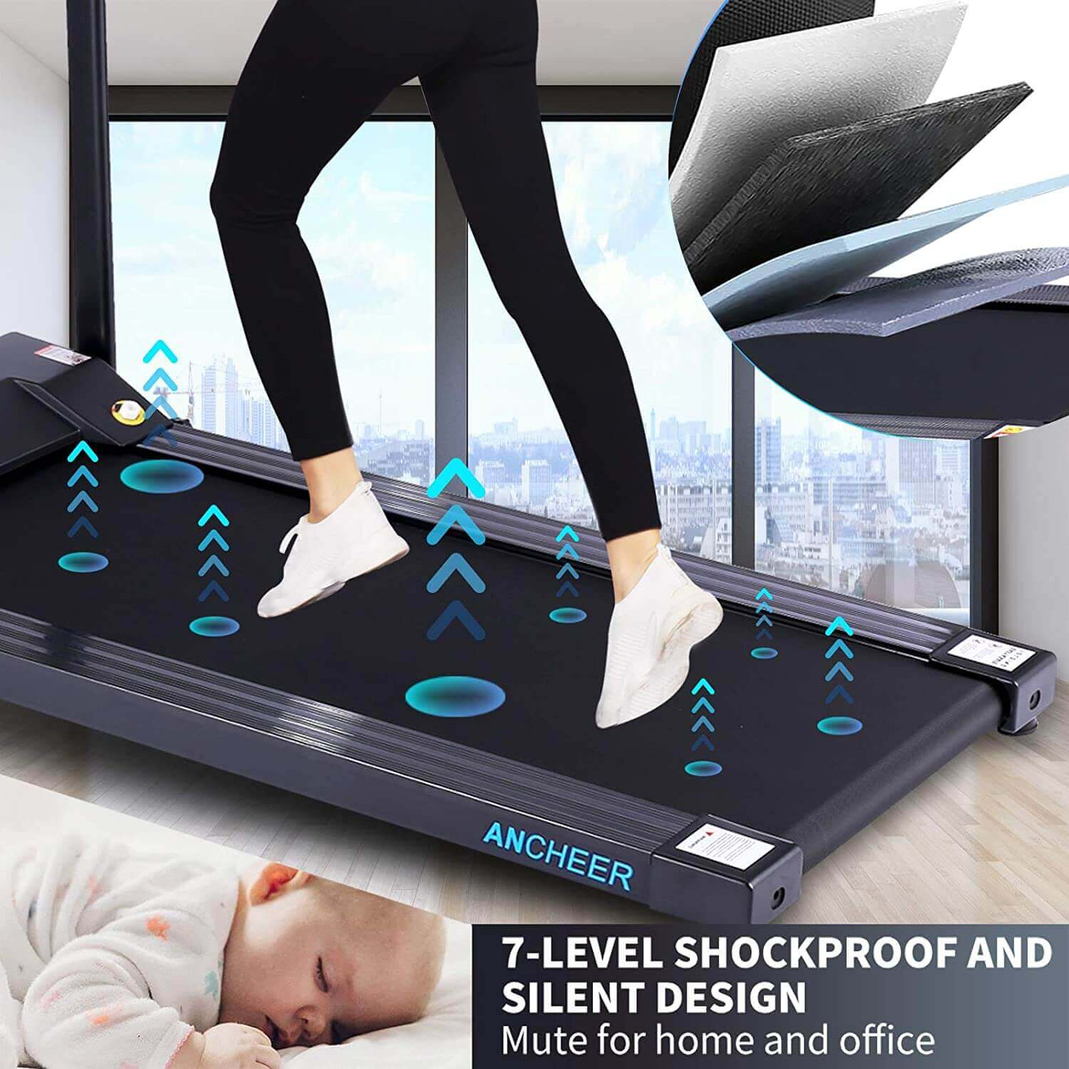 ANCHEER Folding, Motorized and Electric Treadmill with Fixed Incline Folding