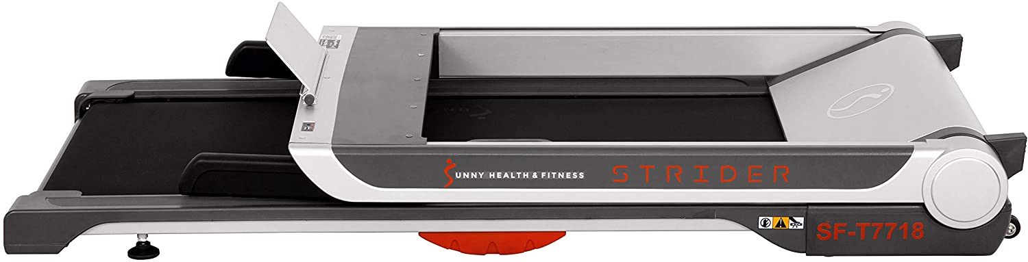 Sunny Health and Fitness Electric Slim Folding Running Treadmill Review handle and deck