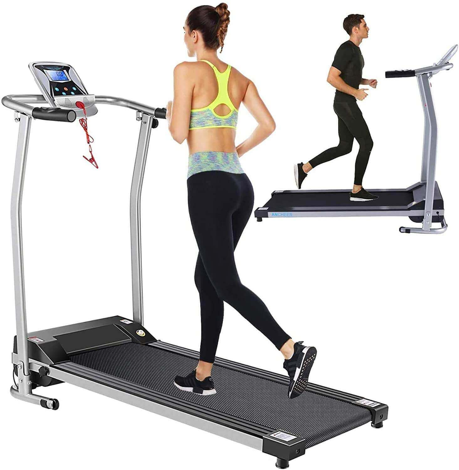 Aceshin Folding Electric Treadmill with LCD Monitor, Pulse Grip, and Safe Key - Exercise Machine for Home